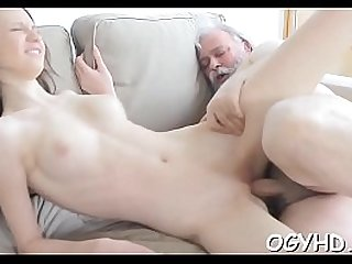 Horny blonde babe screwed by old lad