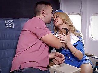 Big tits blonde stewardess joins the mile high club