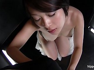 Asian gives sexy POV blowjob