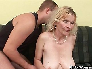 Older mom with big tits and hairy pussy gets a huge facial