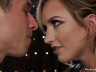 Hot blonde babe gets anal fucks guy