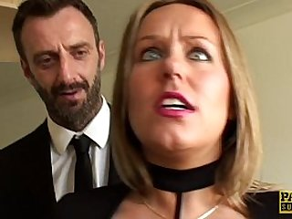 UK sub slut rough doggystyled in stockings
