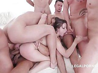 on Gang Bang for ultra slut Gabriella Lati Swallows!