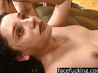 new 18 year old cutie Becky Sins gets her throat pounded at face fucking