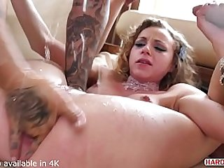 Angel Emily Came to the right place to get her tight shaved pussy serviced by two hot rods