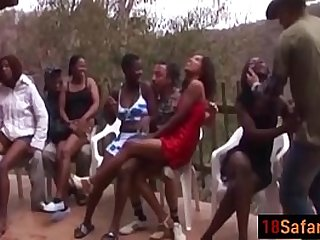 Hot interracial orgy with nasty sluts on the party after a Safari