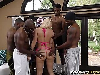 AJ Applegate gets gangbanged and ass fucked black dudes