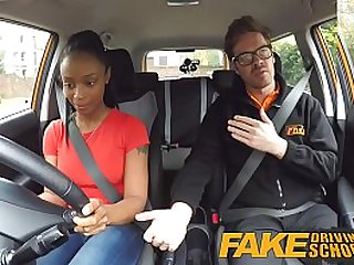 Fake Driving School ebony with tits is worst driver yet