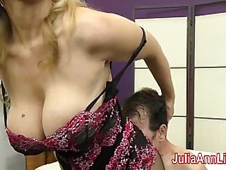 Milf Julia Ann Teases Slave with Feet!