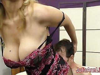 Milf Julia Ann Teases Slave with Feet!