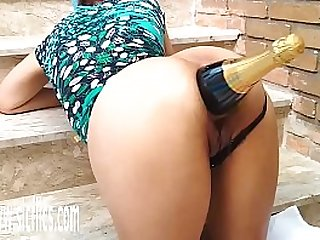 Champagne Bottle Fucking Latin Whores Ass